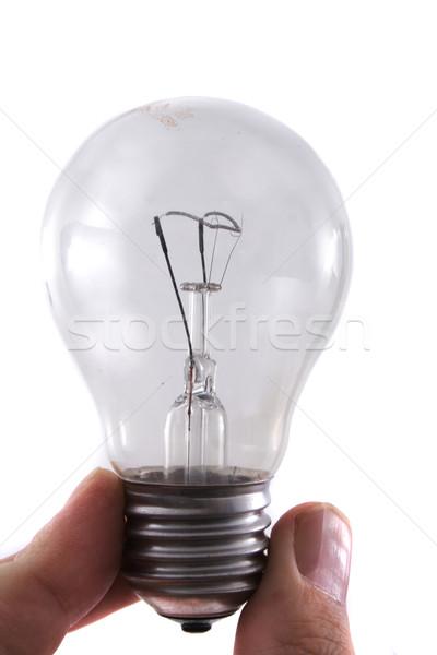 Gloeilamp hand palm lamp macht witte Stockfoto © jonnysek