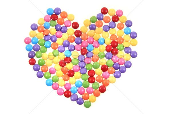 Couleur bonbons coeur isolé blanche alimentaire Photo stock © jonnysek