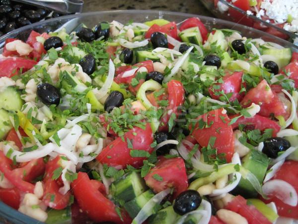 Zeytin domates soğan salata gurme gıda gıda Stok fotoğraf © jonnysek