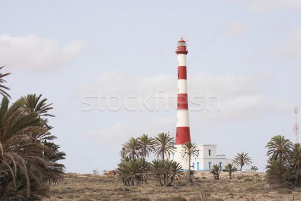 Világítótorony Tunézia ház tájkép fény tenger Stock fotó © jonnysek