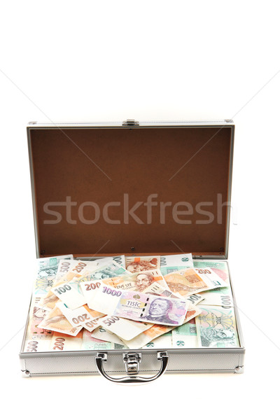 Tsjechisch geld aluminium koffer geïsoleerd witte Stockfoto © jonnysek