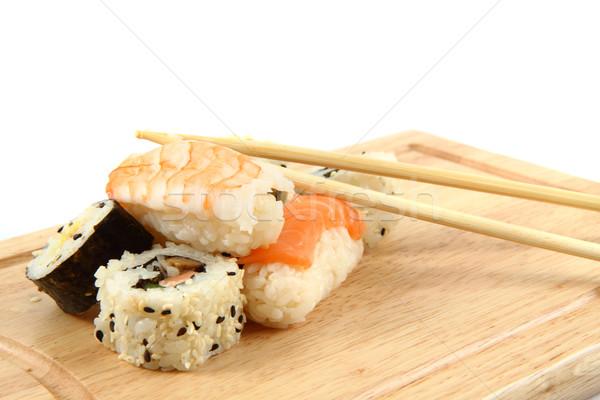 Somon sushi gurme gıda balık akşam yemeği Asya Stok fotoğraf © jonnysek