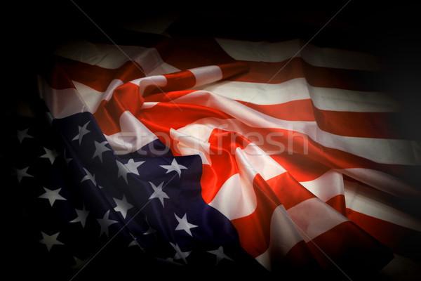 Foto stock: EUA · bandera · oscuro · noche · diseno · fondo
