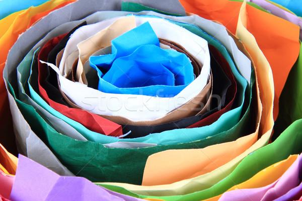 Renk kâğıt rulo güzel gökkuşağı doku Stok fotoğraf © jonnysek