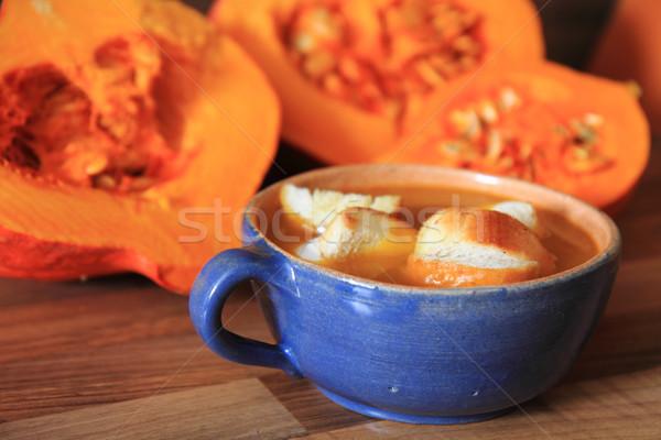 Calabaza sopa República Checa alimentos vidrio fondo Foto stock © jonnysek