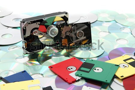 hard drive, floppy disc, and cd-rom  Stock photo © jonnysek