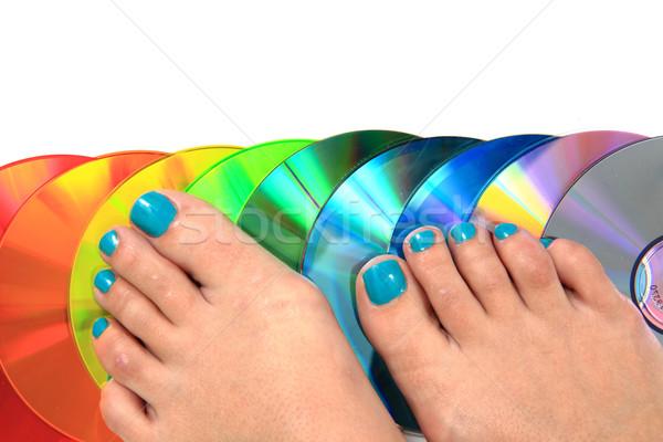 женщины ног педикюр компакт-диск изолированный белый Сток-фото © jonnysek