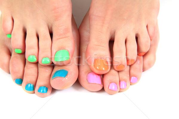 Nők láb pedikűr szín körömlakk kéz Stock fotó © jonnysek