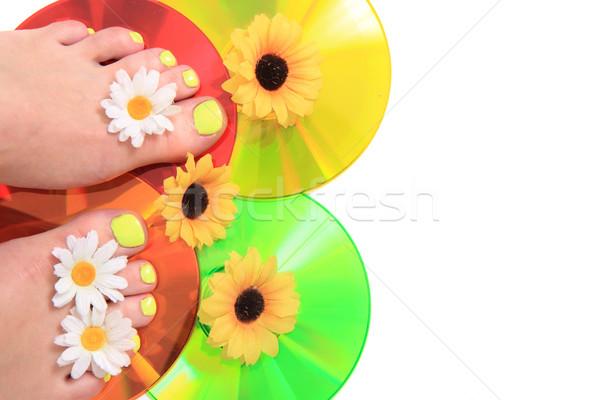 women feets and flowers (pedicure tbackground) Stock photo © jonnysek