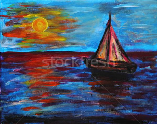 Enyém kéz festmény hajó tenger kék Stock fotó © jonnysek