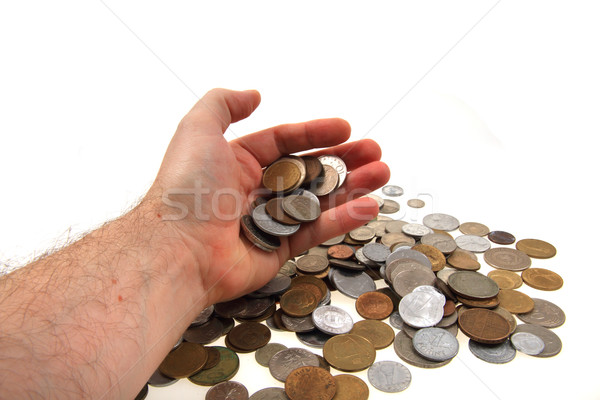 Stock photo: old european coins in my hand