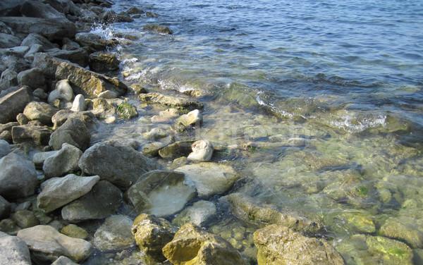 Noir mer lieu détendre plage eau Photo stock © jonnysek