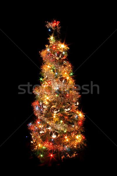 Noël arbre arbre de noël couleur lumières noir Photo stock © jonnysek