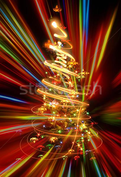 Arbre de noël noël arbre lumières noir lumière Photo stock © jonnysek
