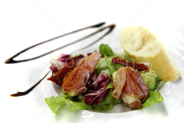 mozzarella grilled in the pig ham as gourmet food background Stock photo © jonnysek