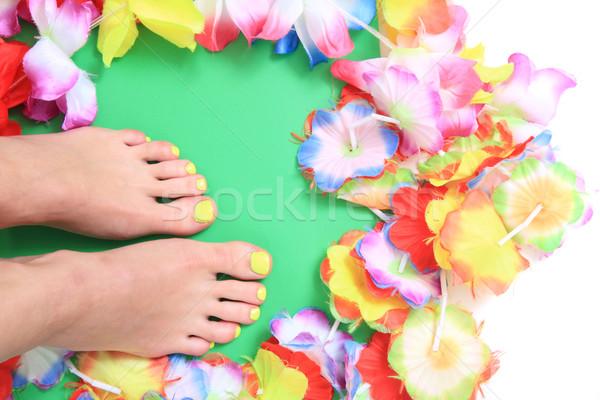Vrouwen bloemen pedicure mooie bloem schoonheid Stockfoto © jonnysek