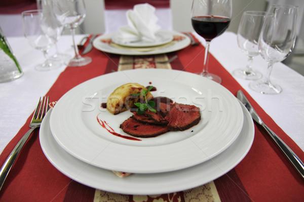roasted celery and beaf steak  Stock photo © jonnysek