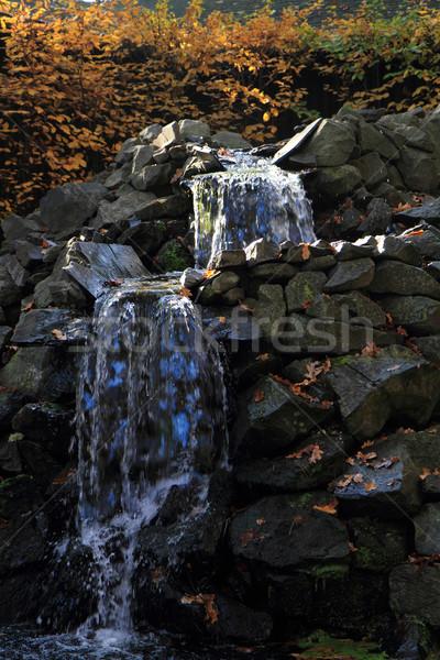 Foto d'archivio: Piccolo · cascata · sole · luce · pietre · albero