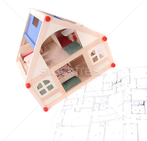 toy house and plans Stock photo © jonnysek