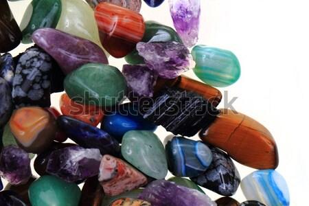 Luxe kleur edelstenen geïsoleerd witte steen Stockfoto © jonnysek