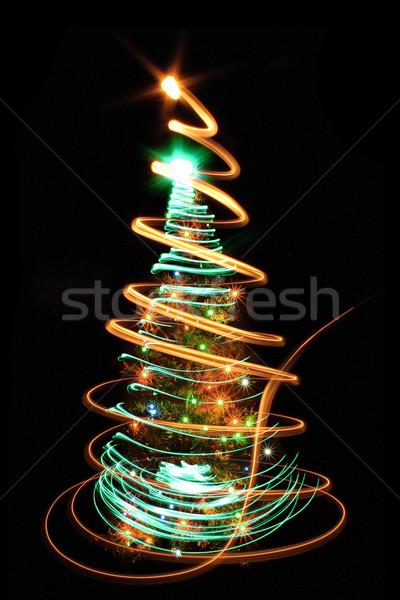 Arbre de noël couleur noël lumières fond hiver Photo stock © jonnysek