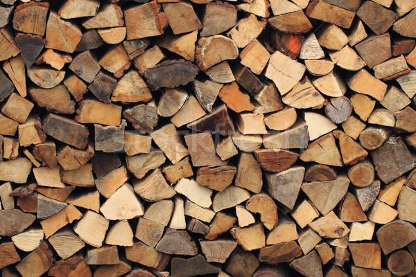Drewno opałowe tekstury tradycyjny naturalnych ognia Zdjęcia stock © jonnysek