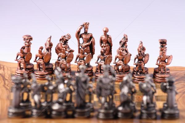 шахматам старые игры древесины металл стороны Сток-фото © jonnysek
