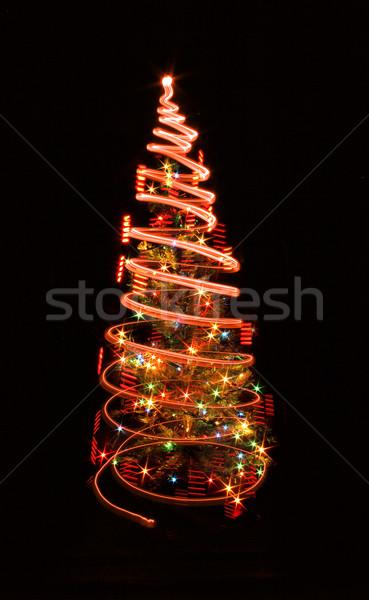 Noël arbre lumières noir fond vert Photo stock © jonnysek