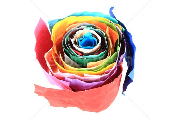 Renk kâğıt rulo yalıtılmış beyaz doku Stok fotoğraf © jonnysek