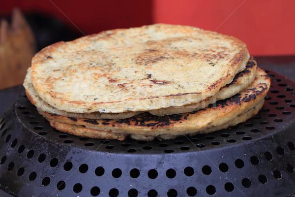 Gezouten pannenkoeken maaltijd gemakkelijk achtergrond Stockfoto © jonnysek
