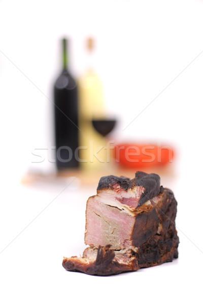 Сток-фото: вино · копченый · мяса · изолированный · белый · фон