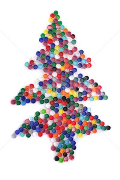 color plastic caps as christmas tree Stock photo © jonnysek