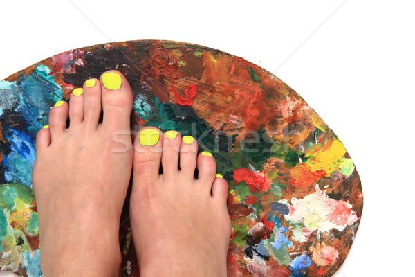 Сток-фото: женщины · ног · педикюр · цвета · палитра · изолированный