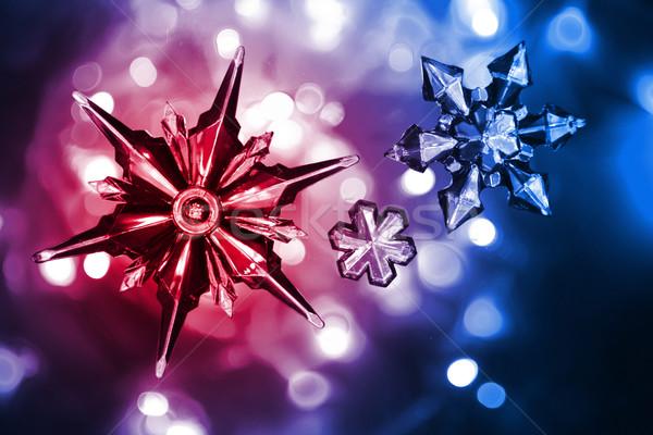 Neige étoiles Nice Noël couleur lumières Photo stock © jonnysek