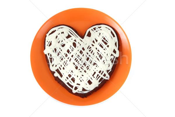 сердце именинный торт изолированный белый продовольствие Сток-фото © jonnysek