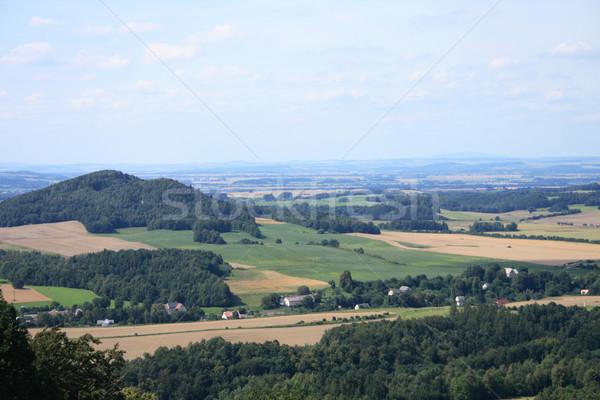 Stock fotó: Hegyek · szép · cseh · ősz · vidék · fű