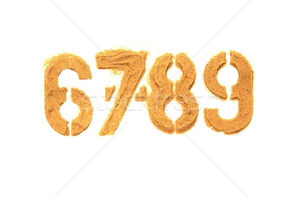 Alphabet nombre sable isolé blanche nature Photo stock © jonnysek