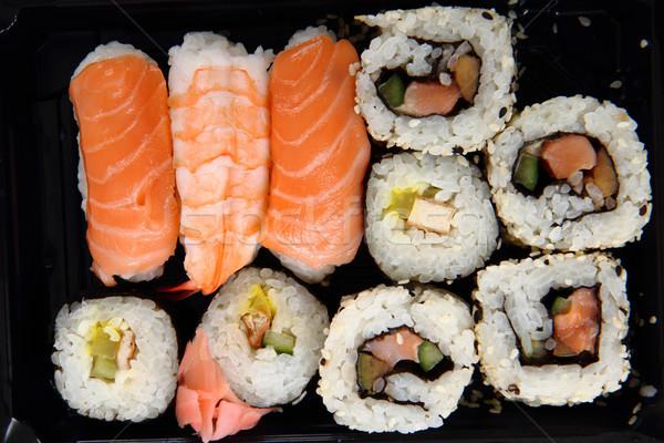 Geisha sushi isolato nero pesce japanese Foto d'archivio © jonnysek