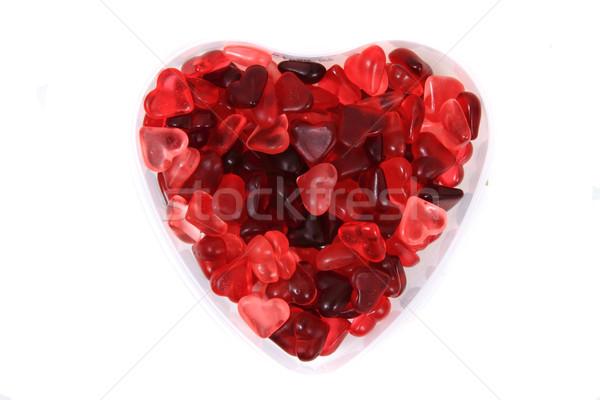 Piros zselé cukorka szívek izolált fehér Stock fotó © jonnysek