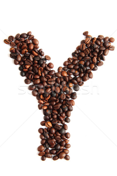 Y, alphabet from coffee beans Stock photo © jonnysek