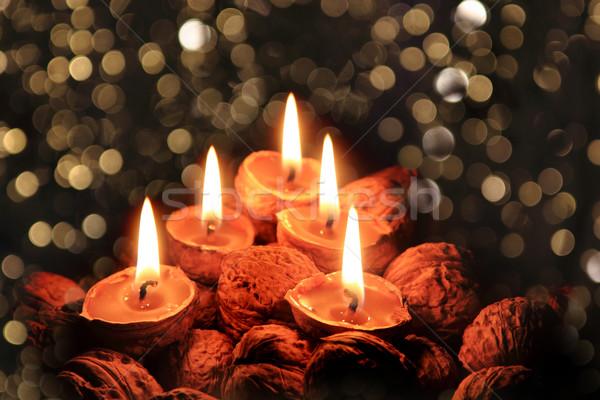 Stockfoto: Christmas · kaarsen · donkere · nacht · mooie · vakantie