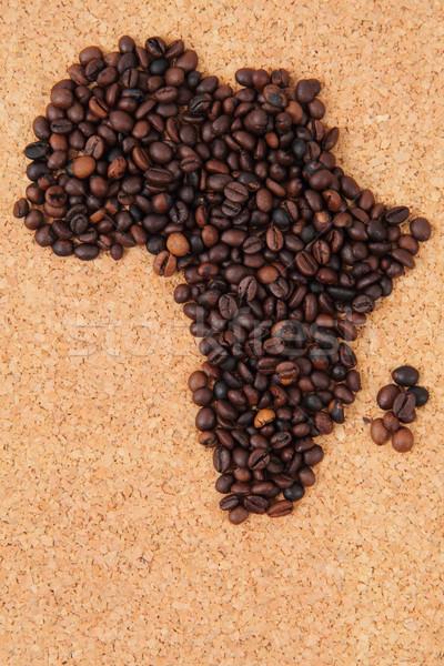 Africa chicchi di caffè mappa del mondo texture alimentare cafe Foto d'archivio © jonnysek