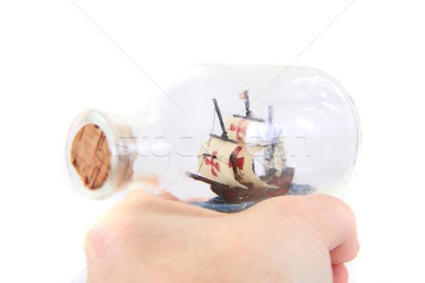 small ship in human hand Stock photo © jonnysek