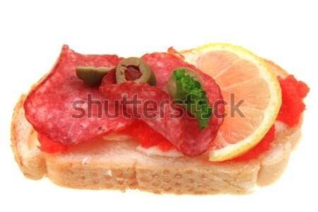 Stok fotoğraf: Açmak · sandviç · komik · yalıtılmış · beyaz · gıda
