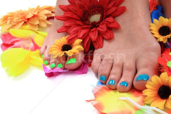 Nő lábak pedikűr színes körmök izolált Stock fotó © jonnysek