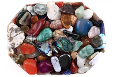 Mineraal collectie geïsoleerd witte natuur geneeskunde Stockfoto © jonnysek