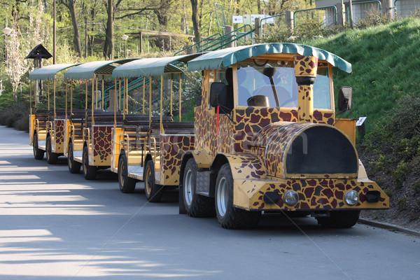 Jardim zoológico trem pequeno girafa textura cidade Foto stock © jonnysek