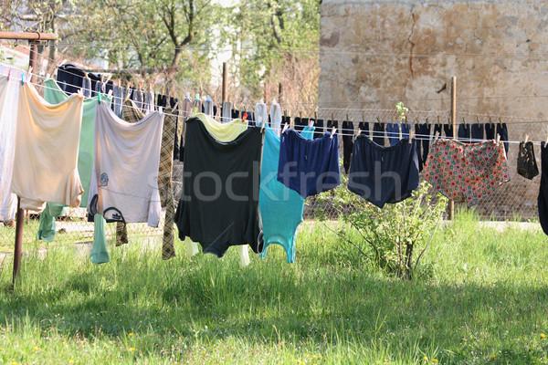 Ruházat nap cseh nyomornegyed ház utazás Stock fotó © jonnysek