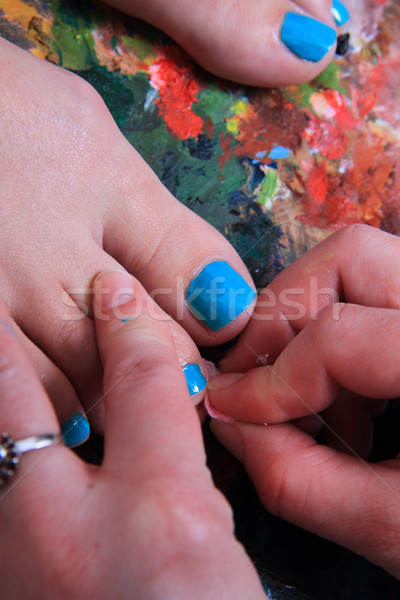 Színes körmök pedikűr szín paletta test Stock fotó © jonnysek