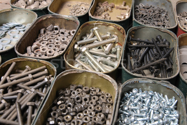 Viele Stahl Schraube wenig Boxen Arbeit Stock foto © jonnysek